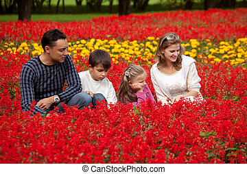 family of four looking aside in flowering park