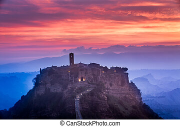 View of the old town of Bagnoregio at dusk