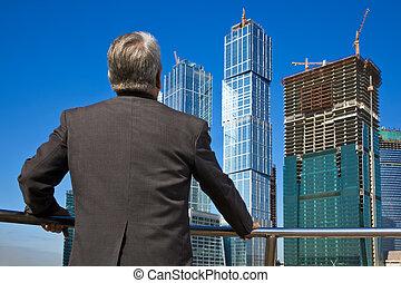 costruzione, anziano, uomo