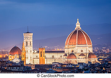 Beautiful sunset over the Santa Maria del Fiore in Florence, Italy