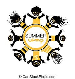 Summer camp. Logo Design Template.