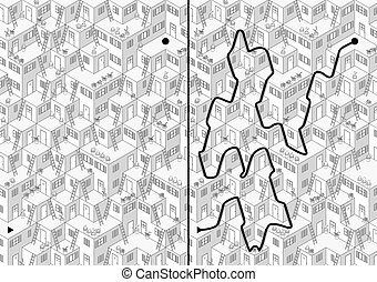 Village maze - Illustrated village maze with a solution in...
