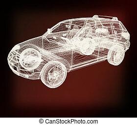 Model cars 3d render 3D illustration Vintage style