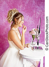 Girl at Vainty  Table Apply Lipstick