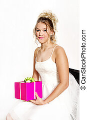 Girl Holding Gift in Party dress