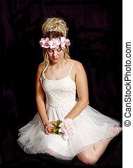 Pretty Girl Sitting on Floor, Dainty Dress