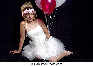 Pretty girl in White Dainty Party Dress - Balloons