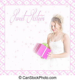 Sweet Sixteen/Girl w/Gift - Graphic background with pretty...