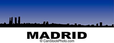 madrid skyline - silhouette of madrids skyline on blue...