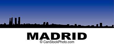 madrid skyline - silhouette of madrids skyline on blue...
