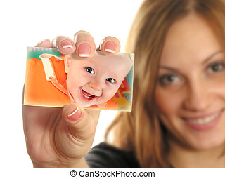 mother holding card with baby collage