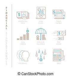 Set of vector financial icons and concepts in mono thin line...