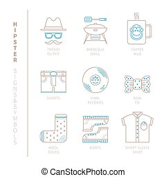 Set of vector hipster icons and concepts in mono thin line...