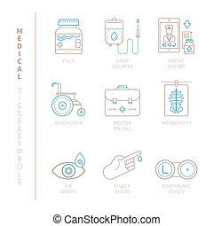 Set of vector medical icons and concepts in mono thin line...