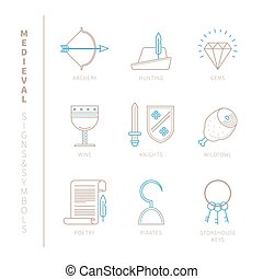 Set of vector medieval icons and concepts in mono thin line...