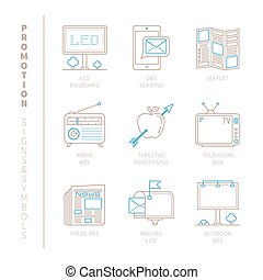 Set of vector promotion icons and concepts in mono thin line...
