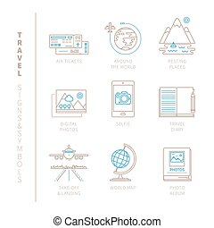 Set of vector travel icons and concepts in mono thin line...