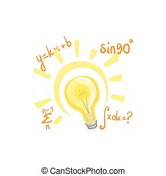 Idea Bulb Surrounded By Mathematical Formulas