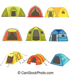 Colorful Tarpaulin Tents Set Of Simple Childish Flat...