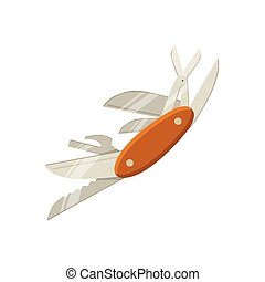 Swiss Multitool Knife With Open Blades Bright Color Cartoon...
