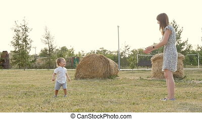 Mother and Son Having Fun in park