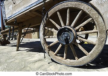 wheel - forefront of the wheel of an old wooden wagon