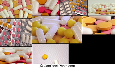 many different spinning drugs, collage. Multiscreen. - many...