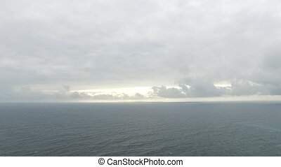 View to Atlantic ocean and cloudy sky - nature, seascape and...