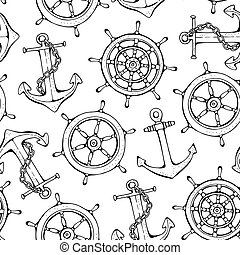 Steering ship wheel and anchor vector background