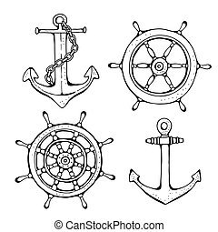 Steering ship wheel and anchor, vector illustration