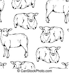 Sheep with thick fur seamless vector pattern