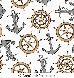 Seamless pattern with steering ship wheel and anchor