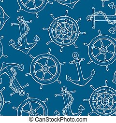 Seamless steering ship wheel and anchor pattern