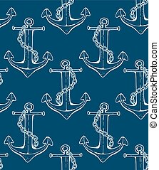 Seamless anchor pattern, vector llustration - Seamless...