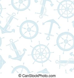 Steering ship wheel and anchor pattern
