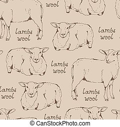 Lambswool beige pattern, seamless background with sheep and...
