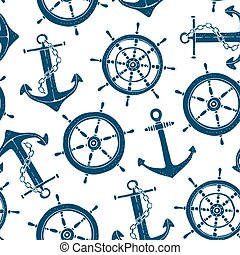 Steering ship wheel and anchor seamless pattern