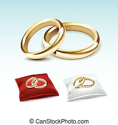 Gold Wedding Rings on Red White Satin Pillow Isolated