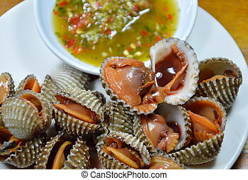 steamed blanched clam with sauce - steamed blanched clam...