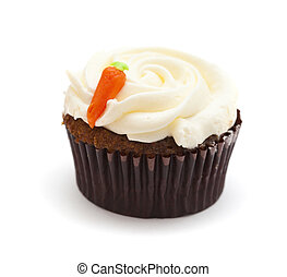carrot cupcake with butter and sugar icing isolated on white