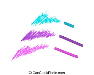 few pastel color tests ad pieces of pastel sticks isolated