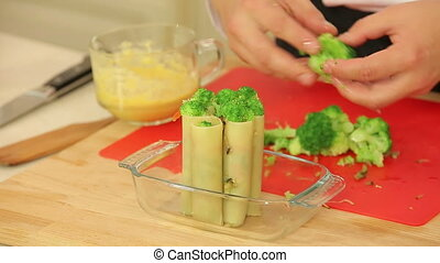 Cannelloni stuffed with vegetable mix