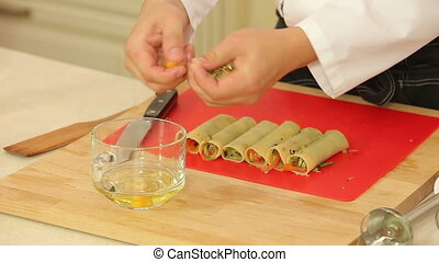 Cannelloni stuffed with vegetable mix - Chef is cooking...