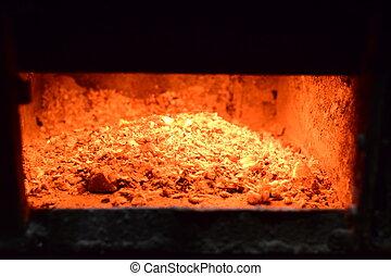 caliente, CARBONES, en, el, estufa