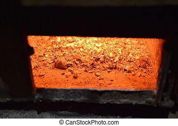 CARBONES, caliente, estufa
