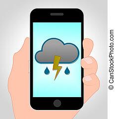 Thunder Forecast Online Shows Mobile Phone And Thunderbolt -...