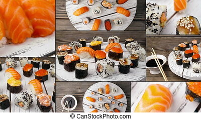 Dishes of Sushi and Sashimi, collage. Multiscreen.