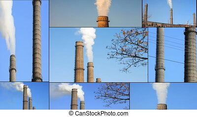 Smoke from factory over blue sky, collage. Multiscreen. -...