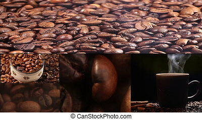 cup with hot drink and roasted coffee beans, collage....