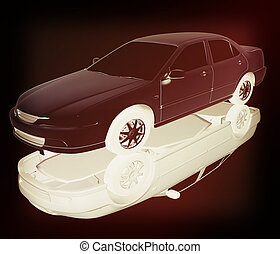 Car Illustrations 3D illustration Vintage style